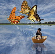 Butterfly Digital Art Prints - Butterfly Sailing Print by Linda Lees