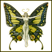 Antique Digital Art Prints - Butterfly Woman Print by Gary Grayson