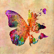 Urban Watercolor Digital Art Prints - Butterfly World Map  Print by Mark Ashkenazi