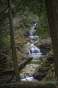 Wine Reflection Art Posters - Buttermilk Falls in Autumn III Poster by Michele Steffey