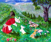 Button Mushrooms Prints - Button Bunnies - Bunny Tales #2 Print by Gloria Koch