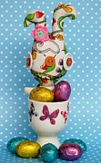 Easter Eggcup Framed Prints - Button Easter Bunny Framed Print by Emma Manners