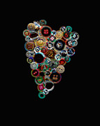 Hearts Digital Art - Button Heart Two by Ann Powell