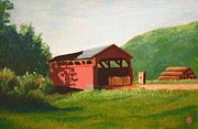 Miniature Paintings - Buttonwood covered bridge by Bibi Snelderwaard Brion