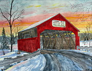 Covered Bridge Painting Metal Prints - Buttonwood Covered Bridge Metal Print by Lynn Kibbe