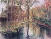 Reflection In Water Pastels Posters - Butts Mill Farm Poster by Andrew Pierce