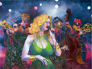 Female Musicians Painting Originals - Buxom blondie by Jim Bates