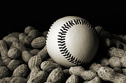 Baseball Game Framed Prints - Buy Me Some Peanuts - Baseball - Nuts - Snack - Sport - B W Framed Print by Andee Photography