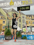 Ironman Competition Prints - B.W. Finishes Ironman 70.3 Tremblant Print by Tanya Petruk