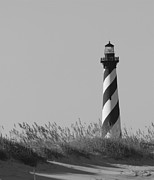 Bw Of Hatteras Lighthouse Print by Laurinda Bowling