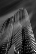 City Scape Pyrography Metal Prints - BW Tower Metal Print by Dmitry Chernomazov