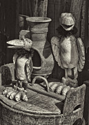 Handmade Art - BW Wooden Bird Carvings by Linda Phelps