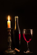 Red Wine Bottle Posters - By candlelight Poster by Bill  Wakeley