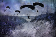 Paratrooper Photo Prints - By Light of the Moon Print by East Coast Barrier Islands Betsy A Cutler