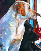 Dogs Painting Metal Prints - By My Side Metal Print by Molly Poole