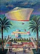 Liner Painting Originals - By Plane Or Boat by Michael Young