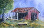 Shed Painting Prints - By the Barn Out Back Print by Jerry McElroy