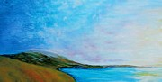 Island Art Framed Prints - By the Bay - Grassy Knolls at Dawn - Impressionist View Framed Print by Eloise Schneider