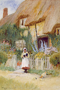 Charming Cottage Painting Posters - By the Cottage Gate  Poster by Arthur Claude Strachan