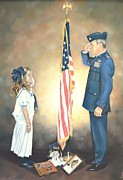 American Flag Pastels Prints - By The Dawns Early Light Print by Sally Buffington