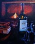 Wine Glasses Paintings - By the Fire by Donna Tuten