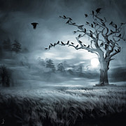 Crows In Trees Posters - By the Moonlight Poster by Lourry Legarde