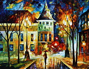 City Park Painting Originals - By The old Castle by Leonid Afremov