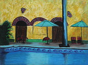 Scenic Pastels Posters - By the Poolside Poster by Jeanne Fischer