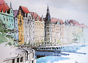 Prague Painting Framed Prints - By the river Framed Print by Igal Kogan