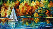 Beach Scenery Painting Prints - By The Rivershore Print by Leonid Afremov