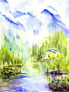 Kashmir Painting Originals - By the Riverside by Nalini Desai