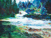 Wisconsin Landscape  Painting Originals - By the Rushing Waters by Kathy Braud