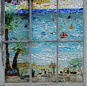 Transportation Glass Art Metal Prints - By The Sea Metal Print by Anne Marie Brown