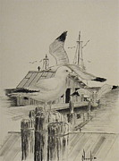 Docks Drawings Originals - By the Sea by BD Nowlin