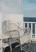 Front Porch Painting Framed Prints - By The Sea Framed Print by Monte Toon