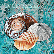 Seashell Paintings - By the Seaside Original Coastal Painting Colorful Urchin and Seashell Art by Megan Duncanson by Megan Duncanson