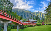 Waimea Valley Prints - Byodo-in Temple In The Valley Of The Temples Print by Tin Lung Chao