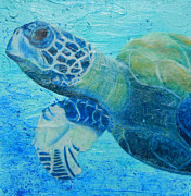 Green Sea Turtle Mixed Media - Byrons Journey by Kristen Ashton
