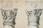 Print Drawings Framed Prints - Byzantine capitals from columns in the nave of the church of St Demetrius in Thessalonica Framed Print by Charles Felix Marie Texier