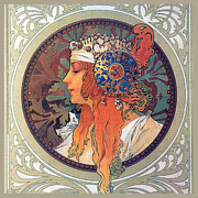 Byzantine Painting Posters - Byzantine Head the Blonde Poster by Alphonse Mucha