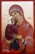 Byzantine Icon Drawings Prints - Byzantine icon ST ANA Print by Sasho  Blazheski