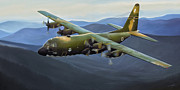 Vietnam Air War Art Metal Prints - C-130E Hercules Metal Print by Dale Jackson