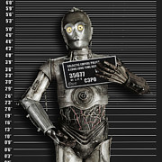 Law Mixed Media Posters - C-3PO Mug Shot Poster by Tony Rubino