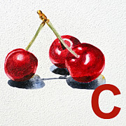 Cherry Art Framed Prints - C Art Alphabet for Kids Room Framed Print by Irina Sztukowski