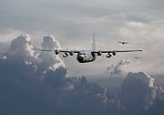 Usaf Digital Art Posters - C130 Hecules    In Trail Poster by Pat Speirs