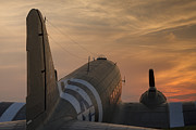 Operation Overlord Posters - C47 at sunset Poster by Steve Matthews