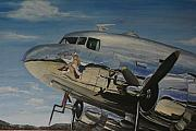 Usaf Painting Framed Prints - C47B Skytrain Bluebonnet Belle  WARBIRD 1944 Framed Print by Richard John Holden
