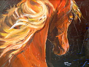 Original Framed Prints Paintings - Caballo de la luz by Janina  Suuronen