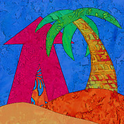 Batik Digital Art Posters - Cabana and Palm #1 Poster by Staci and Bill McLauchlan
