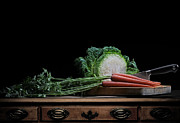 Kitchen Photos Posters - Cabbage and Carrots Poster by Krasimir Tolev